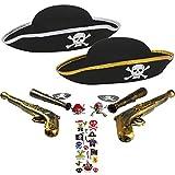 com-four® Zubehör-Set I. für Piraten-Kostüme - Ideal für Karneval, Motto-Partys und Kostümveranstaltungen (11-teilig - für 2 Kinder) (11-teilig - 2 Personen)