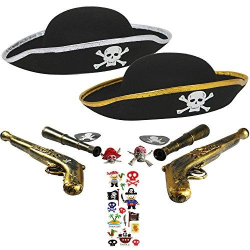 com-four® Zubehör-Set I. für Piraten-Kostüme - Ideal für Karneval, Motto-Partys und Kostümveranstaltungen (11-teilig - für 2 Kinder) (11-teilig - 2 - Schatztruhe Piraten Kostüm