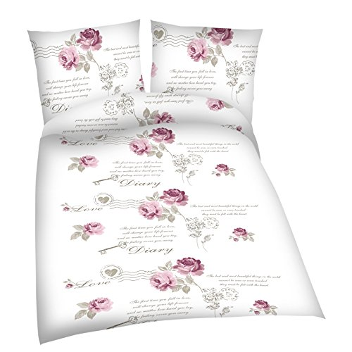 JEMIDI Bettwäsche Rosen Bettbezug Bettbezüge Bettgarnitur 135cm x 200cm Bettdecke Kopfkissen 2 teilig Bett Wäsche Singlebett Bezüge Mädchen Jungen Bezüge Bezug (Romantik)