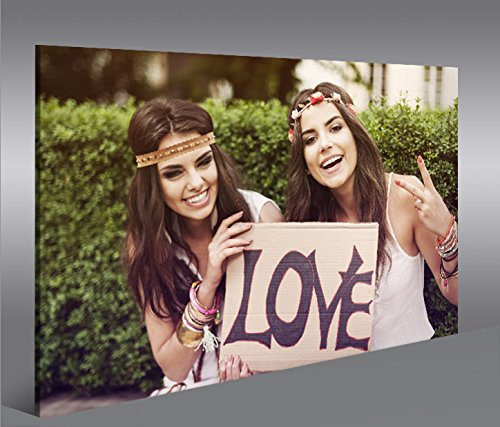 Cuadro en Lienzo Love Hippie Girls Peace 1p Impresión sobre lienzo - Formato Grande - Cuadros modernos