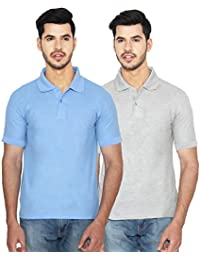 ANSH FASHION WEAR Regular Fit Polo T-shirt Combo For Men - Half Sleeves Casual Men's Polo - Set Of Two - Grey...