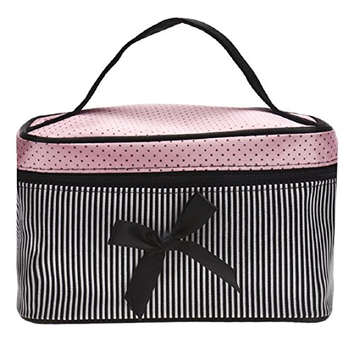 Vovotrade®Hot Place Bow Stripe Cosmetic Bag (Noir)