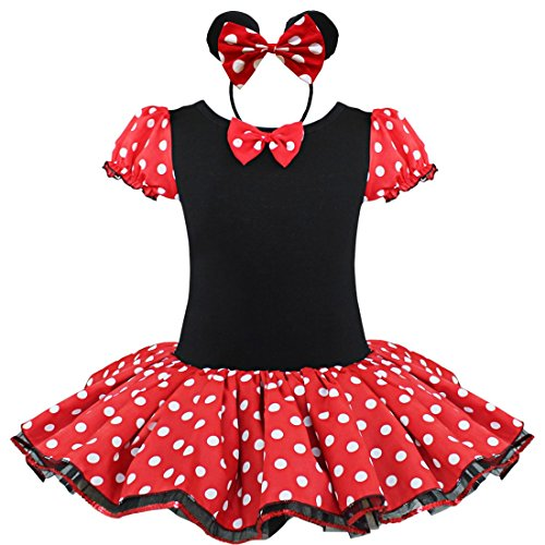iEFiEL Mädchen Kinder Kostüm Kleid 86 92 98 110 116 128 140 Karneval Party Hochzeit Tutu Kleid +Ohren (Zusammen Minnie Maus Kostüm)
