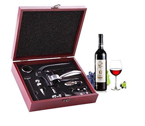 Ducomi docg - cofanetto accessori vino in elegante scatola in legno - confezione 10 pezzi: include anche apribottiglie, cavatappi a coniglio, tagliacapsule, versatore, termometro - regalo originale