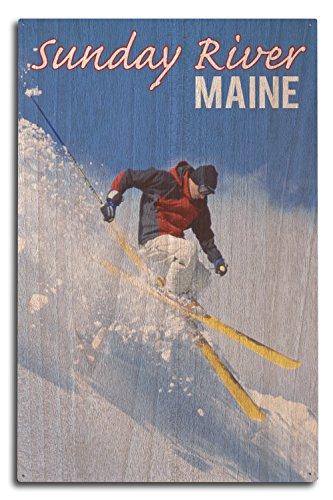 Sunday River, Maine - skieur, Bois dense, multicolore, 10 x 15 Wood Sign
