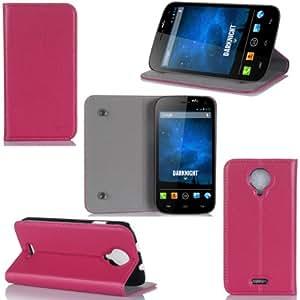 Wiko Darknight Tasche Leder Hülle rosa Cover mit Stand - Zubehör Etui Wiko Darknight Flip Case Schutzhülle (PU Leder, Handytasche Rosa Pink) - XEPTIO accessoires