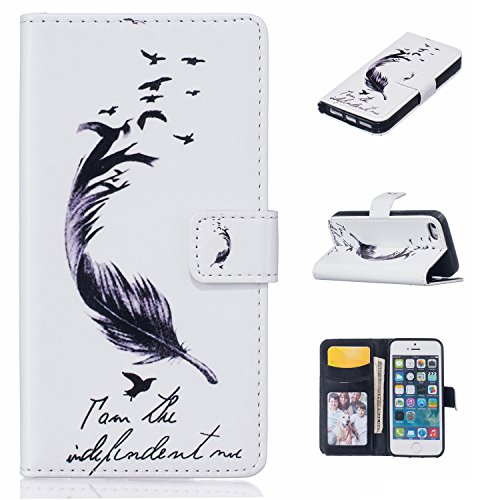 iPhone SE Hülle,iPhone 5S Case,iPhone 5 Cover - Felfy Flip Bookstyle Wallet Luxe Handyhülle Niedlich Farbe Muster mit Bling Diamant Strass Design PU Leather Stand Wallet Flip Lederhülle Case Cover Pou Federn Vogel