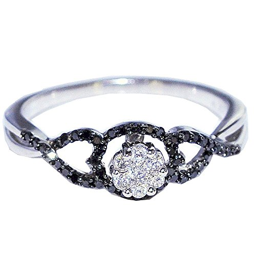 rings-midwestjewellery. COM Damen schwarz Diamant Ring 1/4cttw 10K Weiß Gold mit Weiß Diamanten Fashion Verlobungsring (10k Weißes Gold Schwarzer Diamant Ring)