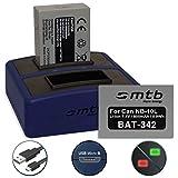 2x Batterie + Double Chargeur Compact (USB) pour NB-10L | Canon PowerShot G15, G16, G1 X, G3 X, SX40 HS, SX50 HS, SX60 HS (Cable Micro USB inclus )
