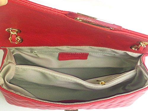 SUPERFLYBAGS Borsa in vera pelle trapuntata modello Parigi Classic Made in Italy Rosso