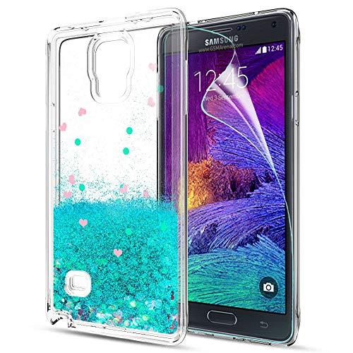 LeYi Hülle Galaxy Note 4 Glitzer Handyhülle mit HD Folie Schutzfolie,Cover TPU Bumper Silikon Flüssigkeit Treibsand Clear Schutzhülle für Case Samsung Galaxy Note 4 (N910) Handy Hüllen ZX Turquoise
