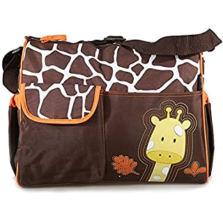 Accessotech Waterproof Baby Diaper Nappy Mummy Changing Handbag Shoulder Bag with Mat Travel (Giraffe Orange)