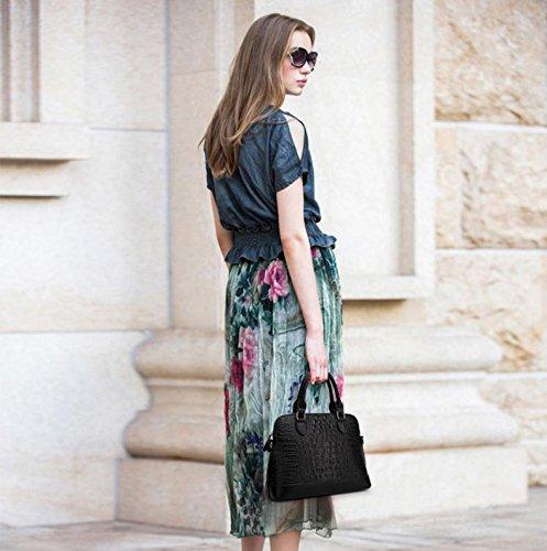 X&L Krokodil-Muster Mode Frauen Diagonale Schulter Leder Handtasche Black