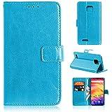 Y&EU Leder Hülle für Ulefone Note 7 (2019),Retro Ölwachs Premium Pu Leder Magnet Ständer Klapptasche Kartenfäche Flip Schutzhülle Tasche Brieftasche Handyhülle, Blau