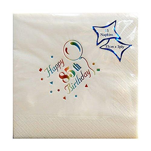 NPK Papierservietten mit Aufdruck Happy 85th Birthday, 15 Stück (Einheitsgröße) (Weiß)