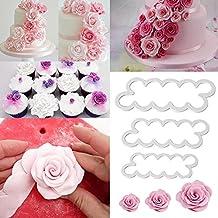 Hosaire 3 Pcs Plantillas para Decoración de Tartas Pasteles, Cortador de Flores Rosa Volantes Molde de Flores Rosa para Modelar Pétalo, Volantes