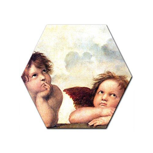 Bilderdepot24 Kunstdruck - Alte Meister - Raffael - Engel - Detail Sixtinische Madonna - Sechseck 40 cm - Leinwandbilder - Bilder als Leinwanddruck - Bild auf Leinwand - Wandbild