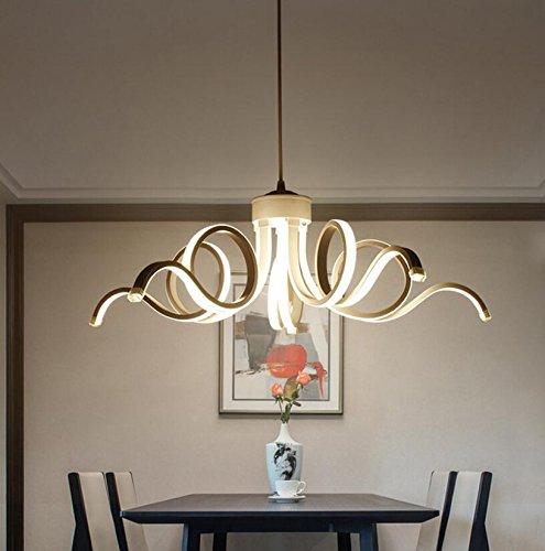 Kronleuchter Wohnzimmer Lampe Einfache Postmoderne LED Restaurant Lampe Nordic Mode Kreative Blütenblätter Schlafzimmer Lampe Stufenlos Dimmen Mit Fernbedienung (Blütenblatt Wohnung 5)