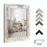1a-Bilderrahmen Orion Weiss Shabby Chic Vintage 50 x 70 cm kantig Puzzle modern stabil eckig hochwertig preiswert mit klarem Kunstglas