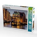 CALVENDO Puzzle Hamburg - Speicherstadt 1000 Teile Lege-Größe 64 x 48 cm Foto-Puzzle Bild von Thomas Seethaler: Ein Motiv aus dem Kalender Deutsche ... zur Blauen Stunde (CALVENDO Orte)