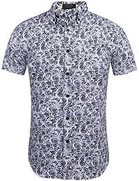 Burlady Herren Blumen Hemd Freizeit Regular Fit Hawaii-Print Kurzarm aus  Baumwolle ce7839c4d3