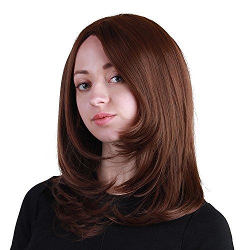 (Luckhome Damen Perücke Lockige Frauen Lang Haar Wig Für Karneval Oder Cosplay Party, Fasching Kostüm Ombre Haarteil Mittellanges Körper-Mode-Natürliches Synthetisches Perücken-Haar (A))