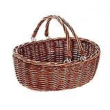 mimbre cesta de Picnic cesta con doble plegable asas, oval cesta de almacenamiento con asas. marrón,Kingwillow