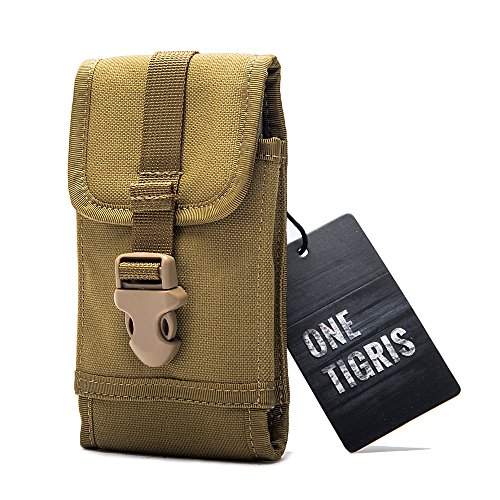 OneTigris tattico fondina cintura regolabile Custodia per cellulare smartphone Pouch fibbia a sgancio rapido per 4.7iPhone66S 75.5iPhone 6Plus/6S 7Galaxy Note 2345LG G2G4Sony Xperia Z1S Z3Z5Blackberry 8300HTC One Max