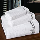 JUNHONGZHANG 3-TLG Luxus Stickerei Weiß Handtuch Set Saugfähig 100% Baumwolle Großes Strandtuch Hohe Qualität Schnell Trocken Handtücher Für Erwachsene