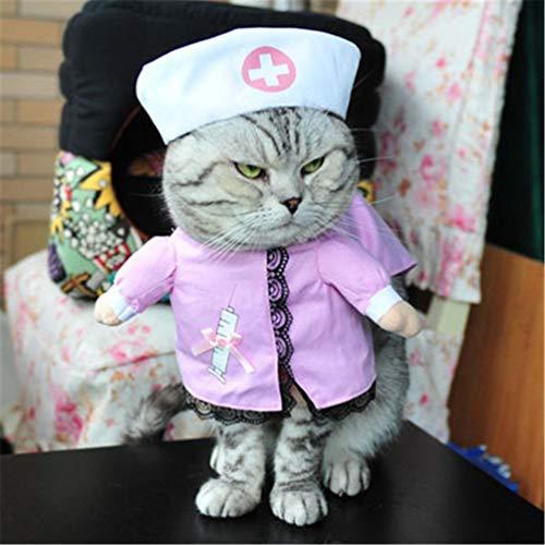 Feidaeu Lustige Cat Dog Clothes Nurse Suit Kostüm für Cat Cool Weihnachten Halloween Kostüm Haustier-Mantel für Katze Hund