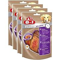 8in1 Fillets Pro Active Hähnchensnack, Größe S, funktionale Leckerlies für Hunde, 4er Pack (4 x 80 g)
