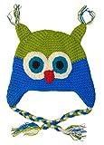 BOMIO Kindermütze | niedliche Baby-Mütze | Erstlingsmütze aus hautfreundlicher Baumwolle | süße Kinder-Strickmütze | lustige bunte Eulen | Blau/Grün
