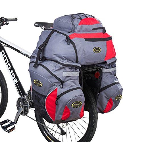 3 in 1 Doppia Borse per Bici Bicicletta per il Porta Pacchi Posteriore, 65L Zaini, Borse e Borse Laterali Biciclett per Ciclismo Impermeabilità e Resistenza allo Strappo con Cappotto di Pioggia (Rosso)