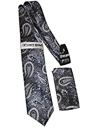 Stacy Adams Mens Microfiber Black Paisley Print Tie and Pocket Square Set