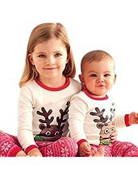 Longra Bébé Noël Wapiti Impression Longue MancheTops + Pantalons