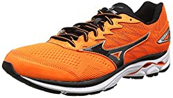 Mizuno Men's Wave Rider 20 Orange (Clownfishblacksilver) Running Shoes - 9.5 Uk
