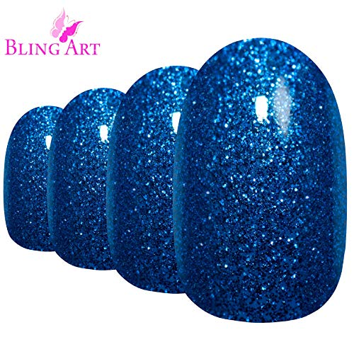 Faux Ongles Bling Art Bleu Gel Ovale 24 Moyen Faux bouts d'ongles acrylique