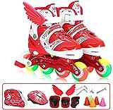 GOLDGOD Inline-Skates Inline-Skates Inline-Skates Vollfarbige Einstellbare Skates für Kinder Pu-Farbe Roller Schuhe Einzelne Reihe,red,39/42