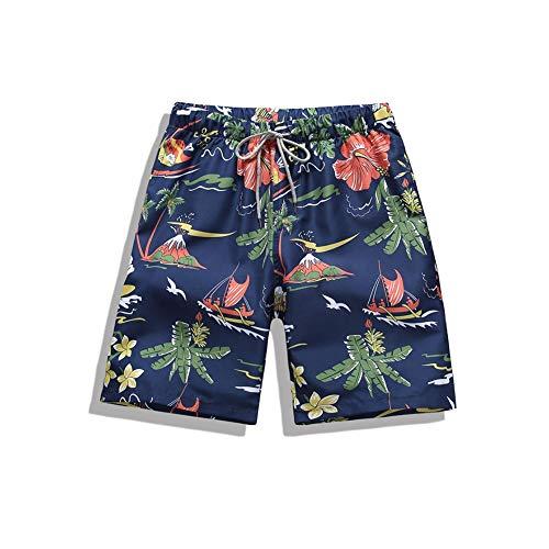 Kostüm Mann Insel - HIAO Sommer Shorts Männer Strand Polyesterfaser Sport Bequem Freizeit Urlaub Dunkelblau Insel Abstrakt Muster (größe : 3XL)