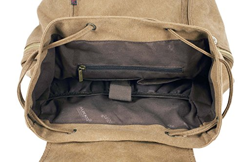 KAXIDY Leinwand Laptop-Tasche Segeltuch Leder Sporttaschen Trekkingrucksack Rucksäcke Schulrucksäcke (Khaki) Khaki