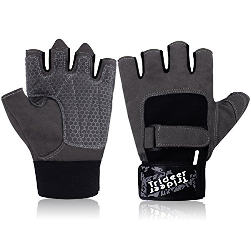 51L3V0vxj5L - BEST BUY #1 Ultralight Weight Lifting Gym Gloves, Half Finger (Fingerless) Microfiber Material and Silica Gel Grip Anti-slip Glove with Adjustable Strap for Wrist and Hand Support, TRIDEER Workout Training Sports Fitness Bodybuilding Exercise Glove for Men, Women, Ladies, Female (Grey & Black) Reviews and price compare uk