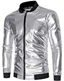 Sportides Herren Metallic Nightclub Shiny Slim Fit Varsity Baseball Bomber Zip Up Jacket JZA147 Silver XL