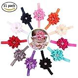SHELE Baby Girls Lotus Flower Headbands Infant Crystal Hair Band Headwrap (B(11PCS/Set))