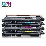 OFFICE HELPER - CLT-P406C Cartucce di Toner, Compatibile per Samsung Printer Xpress CLP-360 CLP-360N CLP-365 CLP-365W CLP-368 CLX-3300 CLX-3305 CLX-3305FN CLX-3305N CLX-3305W CLX-3305FW C410W C460W C460FW C467W, (1 * Nero, 1 * Ciano, 1 * Magenta, 1 * Giallo)