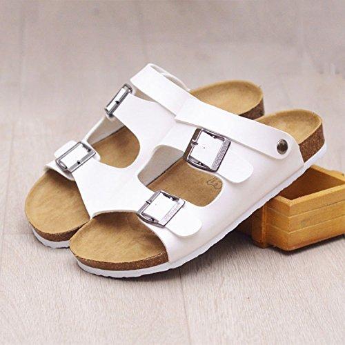 Pantofole Unisex Adulto - Sandali Ciabatte Con Cinturino Alla Caviglia Bianco