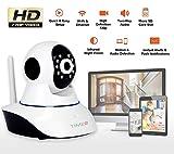 WIFI P2P Cámara IP de Vigilancia HD 720p Cámara de Seguridad con vision Nocturna, detección de movimientos-sonido, Micrófono y altavoz, Alertas móviles y email Tarjeta TF (hasta 64GB) Android   IOS   Windows (Pan/Tilt Rotación 360º Cámara)
