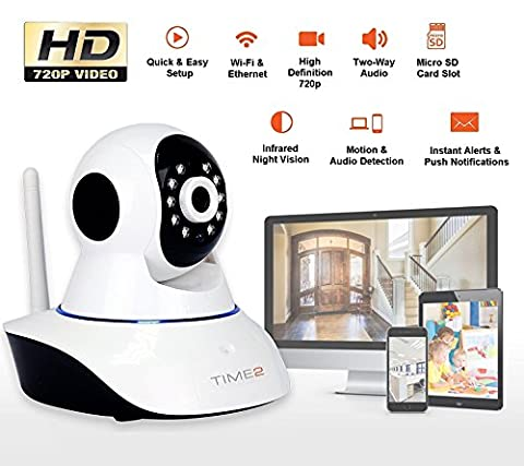 HD Wireless IP Home Security Camera - Home Surveillance Camera 1280 x 720p - Motion & Audio Detection - Remote Viewing, Night Vision - Rotating Pan/Tilt IP Camera - Pet / Wifi Webcam