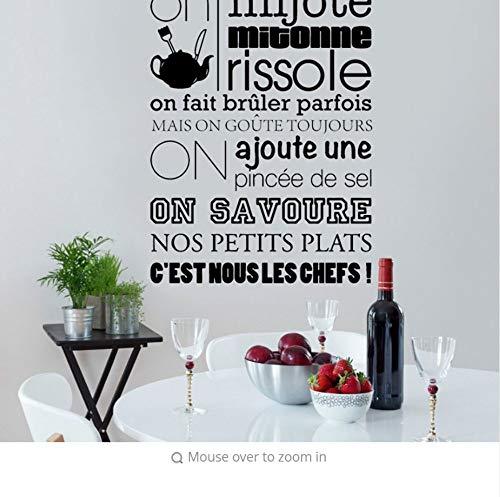 TANHUI Text Wandaufkleber Französisch Citation Kitchen Rule Applique Vinyl Walmart Aufkleber Kunstwandhauptdekor Wohnzimmer Dekoration Poster 42 * 64