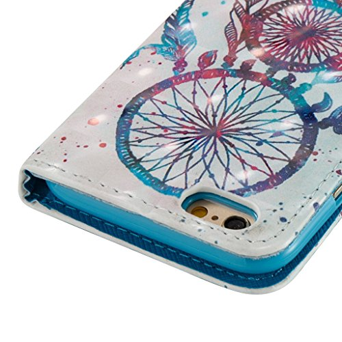iPhone 6S/6 Coque,Careynoce Papillon Fleur Capteur de rêves 3D Relief Retro Painted Pattern Conception Flip PU Cuir Housse Etui Coque Case Cover pour Apple iPhone 6S iPhone 6 (4.7 pouces) -- Bleu Fleu M05