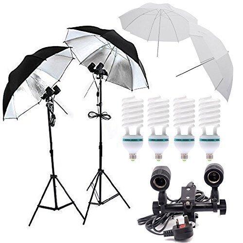 Un Green Energy Lampade Fotografia Professionale Equiment Studio di illuminazione, doppio supporto attacco E27, 4xE27 5500k 85w continui lampade, 2 x32